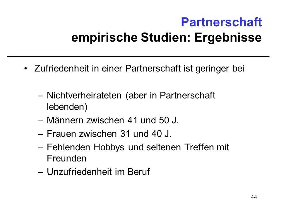 Partnerschaft empirische Studien: Ergebnisse
