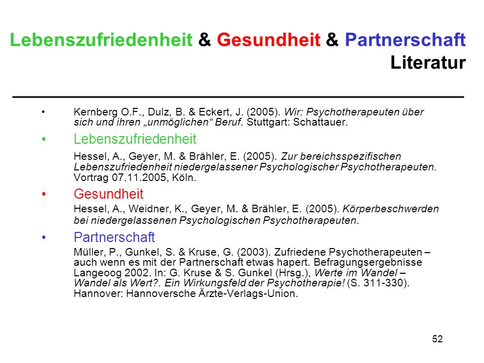 Lebenszufriedenheit & Gesundheit & Partnerschaft Literatur