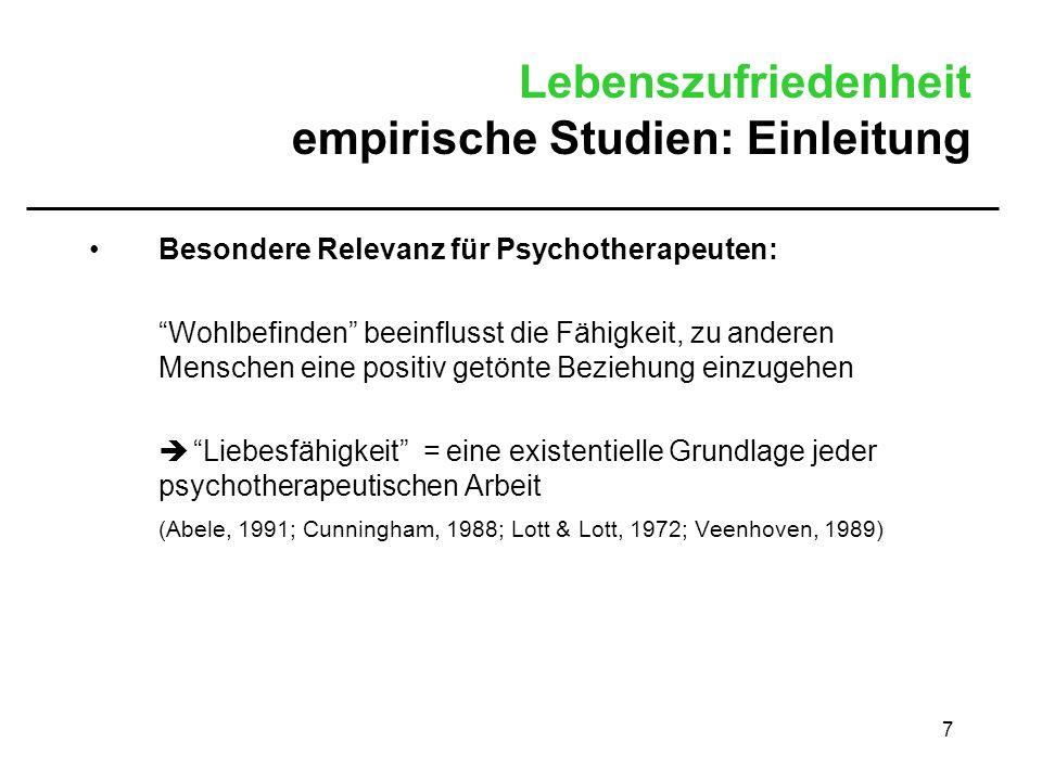 Lebenszufriedenheit empirische Studien: Einleitung