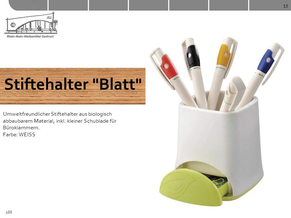13 Stiftehalter Blatt Umweltfreundlicher Stiftehalter aus biologisch abbaubarem Material, inkl. kleiner Schublade für Büroklammern. Farbe: WEISS.