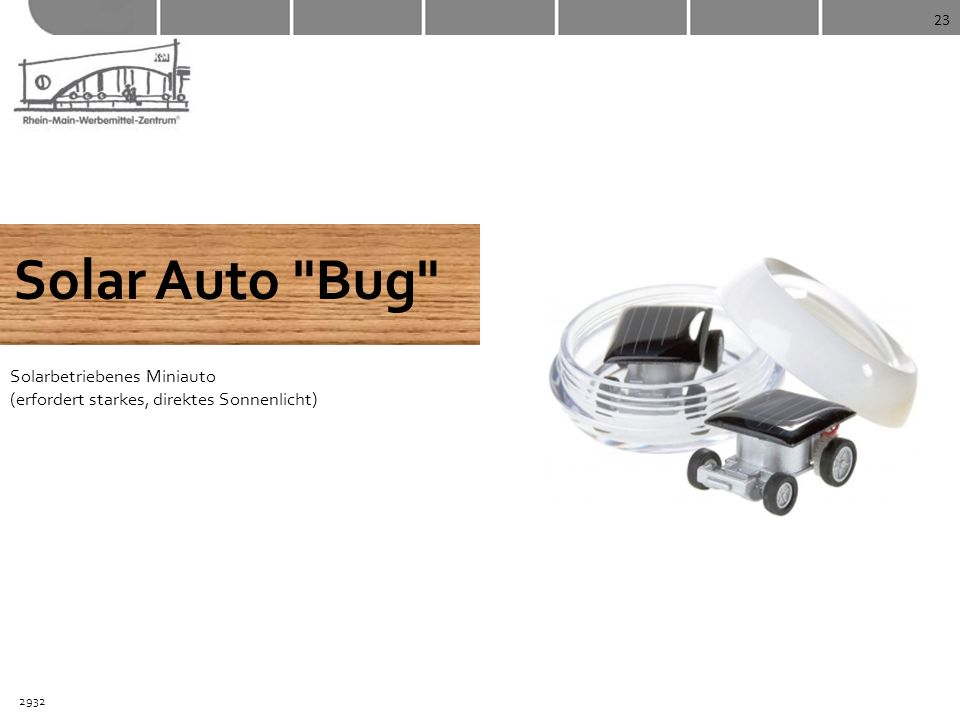 23 Solar Auto Bug Solarbetriebenes Miniauto (erfordert starkes, direktes Sonnenlicht) 2932
