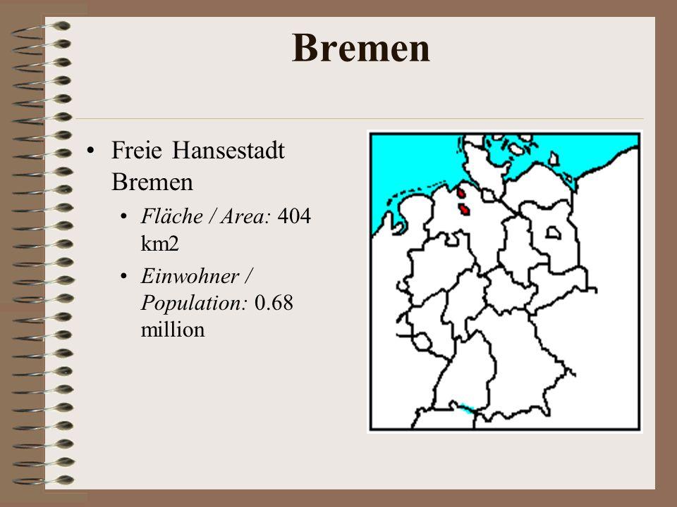Bremen Freie Hansestadt Bremen Fläche / Area: 404 km2