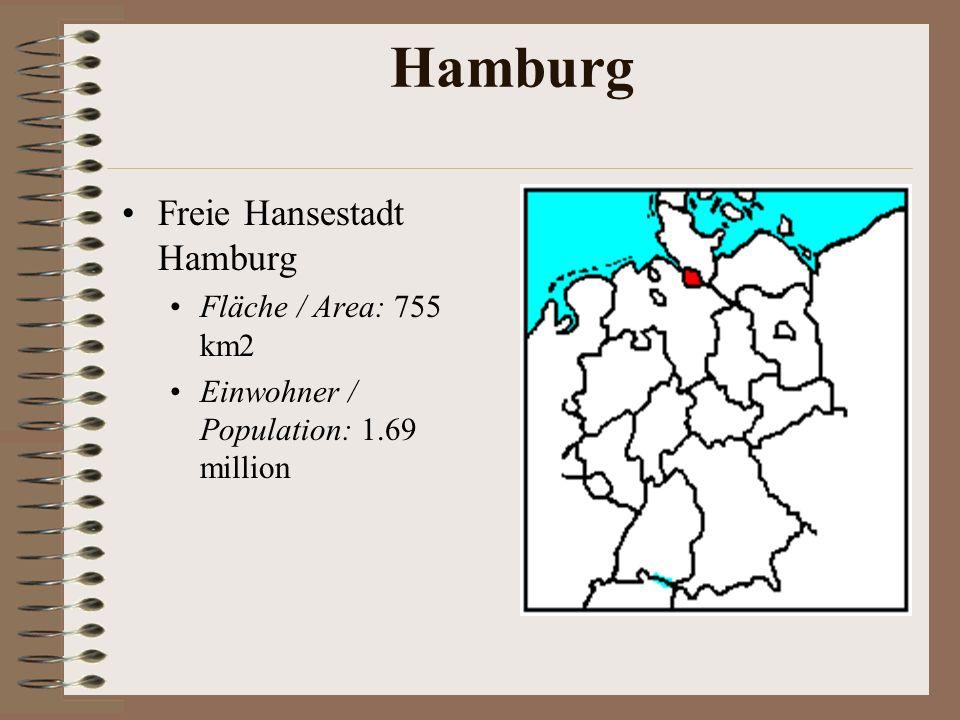 Hamburg Freie Hansestadt Hamburg Fläche / Area: 755 km2