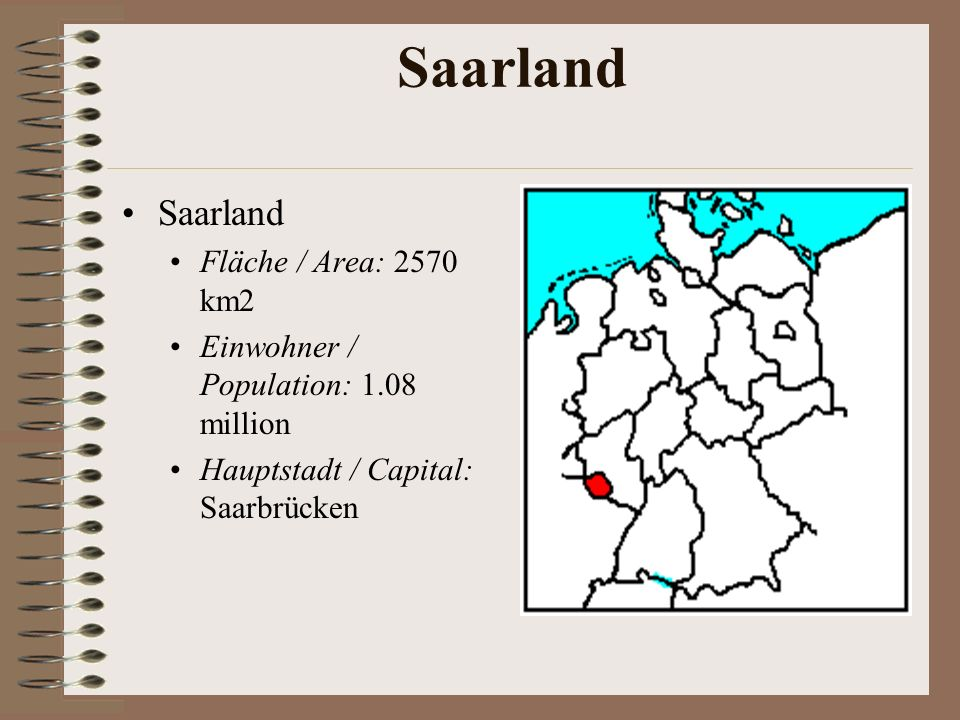 Saarland Saarland Fläche / Area: 2570 km2