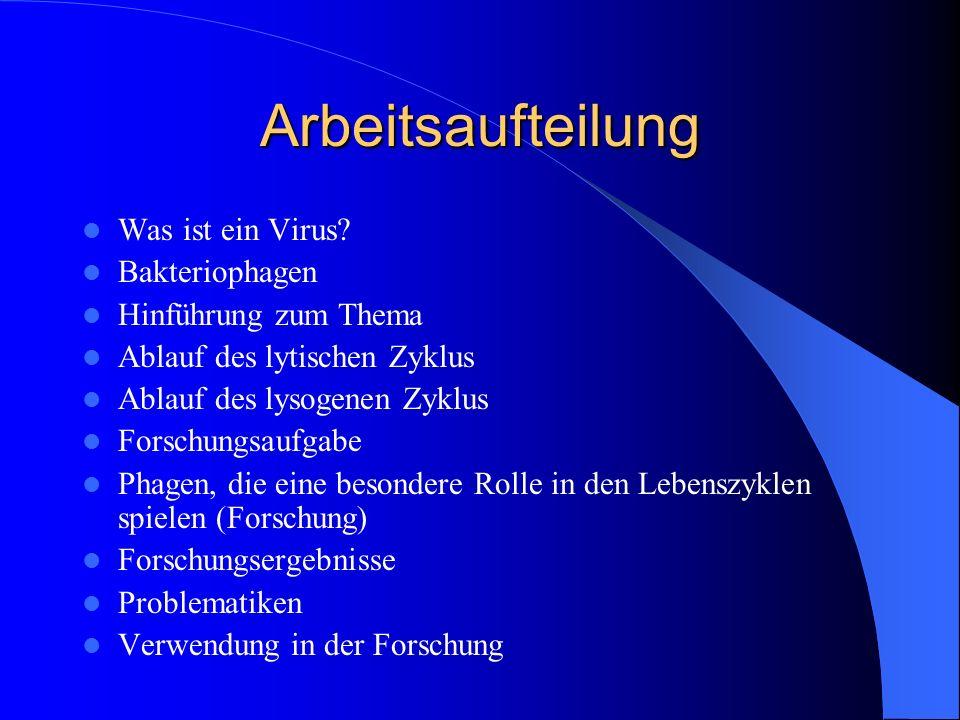 Arbeitsaufteilung Was ist ein Virus Bakteriophagen