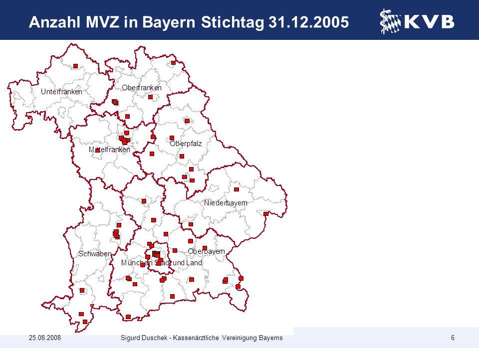 Anzahl MVZ in Bayern Stichtag 31.12.2005