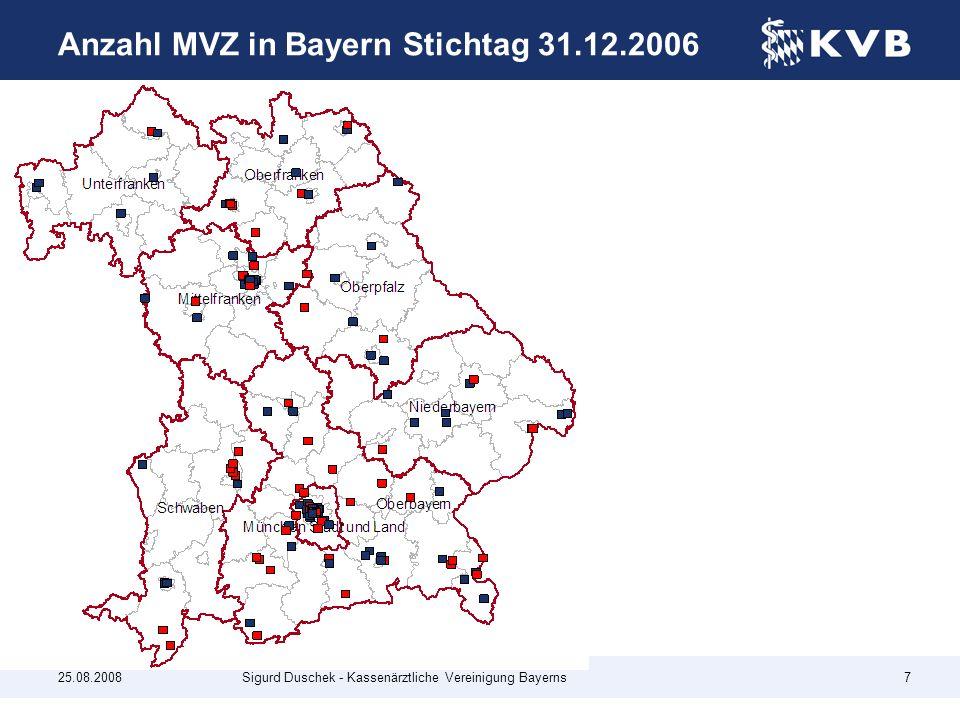 Anzahl MVZ in Bayern Stichtag 31.12.2006