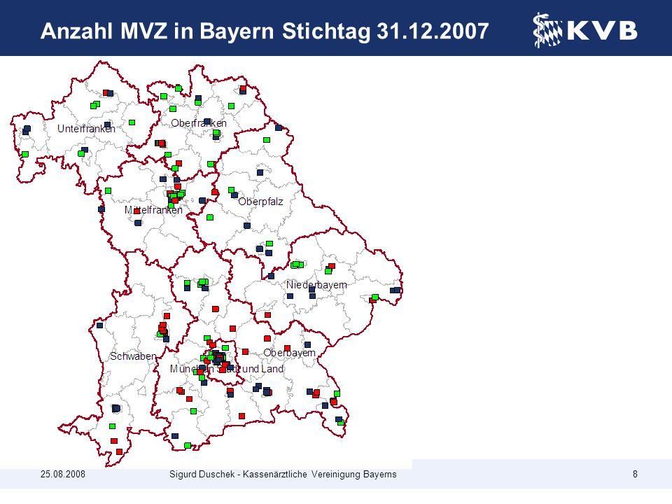 Anzahl MVZ in Bayern Stichtag 31.12.2007