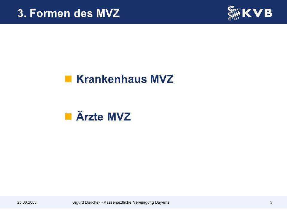 3. Formen des MVZ Krankenhaus MVZ Ärzte MVZ 25.08.2008