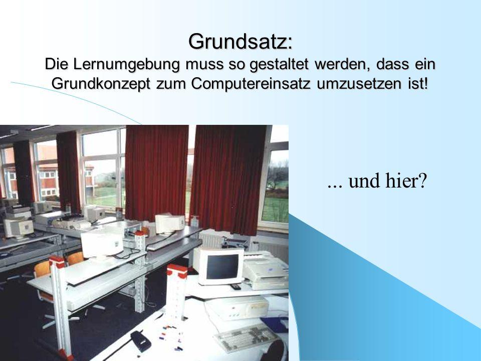 Grundsatz: Die Lernumgebung muss so gestaltet werden, dass ein Grundkonzept zum Computereinsatz umzusetzen ist!