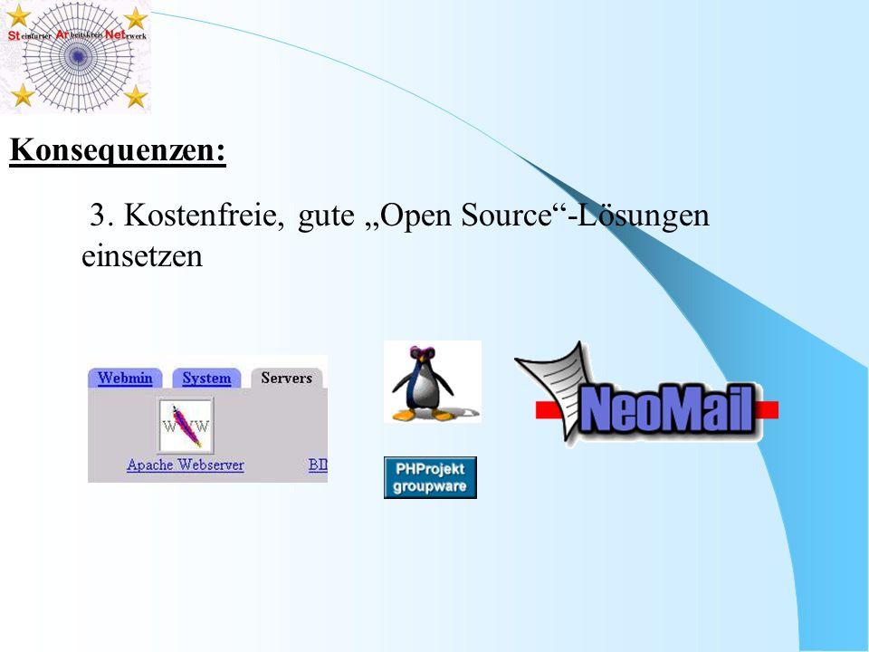 """Konsequenzen: 3. Kostenfreie, gute """"Open Source -Lösungen einsetzen"""