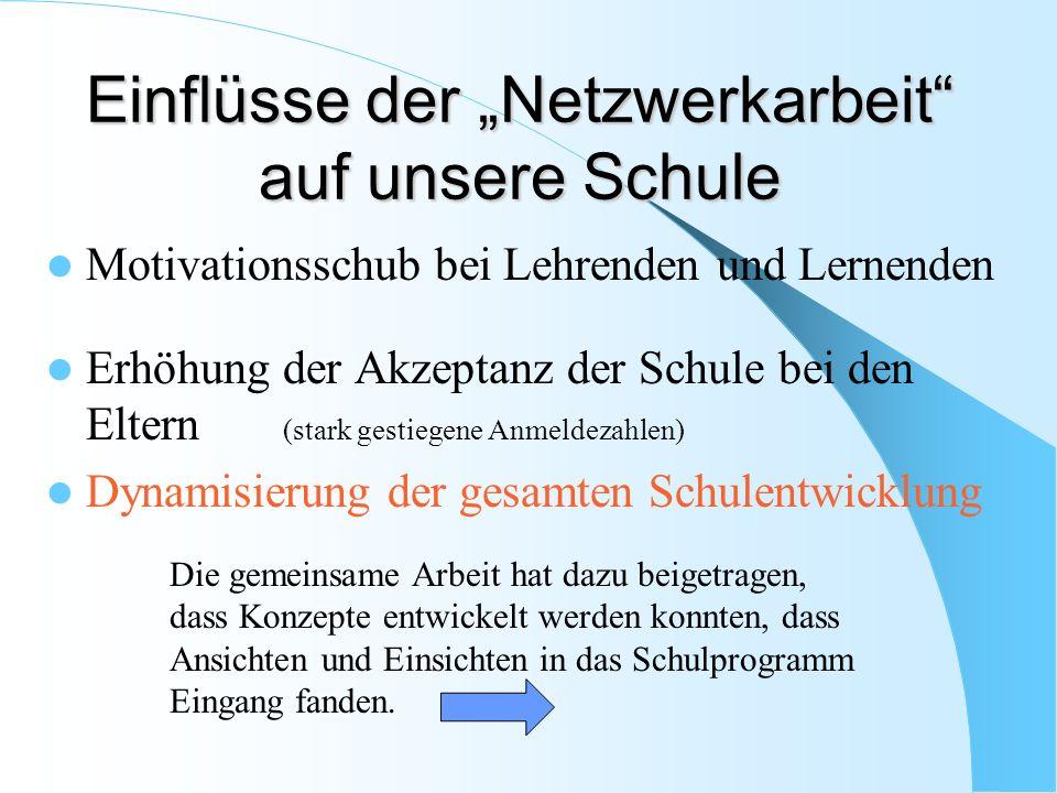 """Einflüsse der """"Netzwerkarbeit auf unsere Schule"""