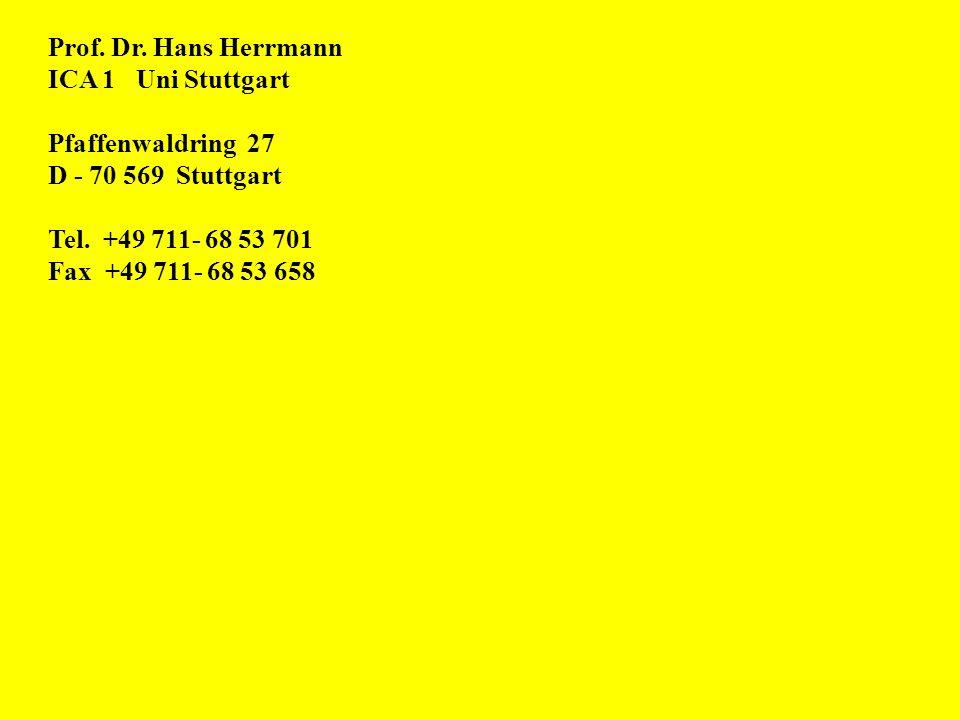 Prof. Dr. Hans Herrmann ICA 1 Uni Stuttgart. Pfaffenwaldring 27. D - 70 569 Stuttgart. Tel. +49 711- 68 53 701.