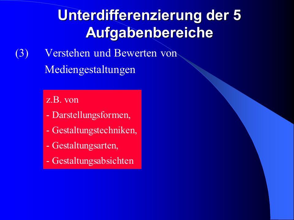 Unterdifferenzierung der 5 Aufgabenbereiche