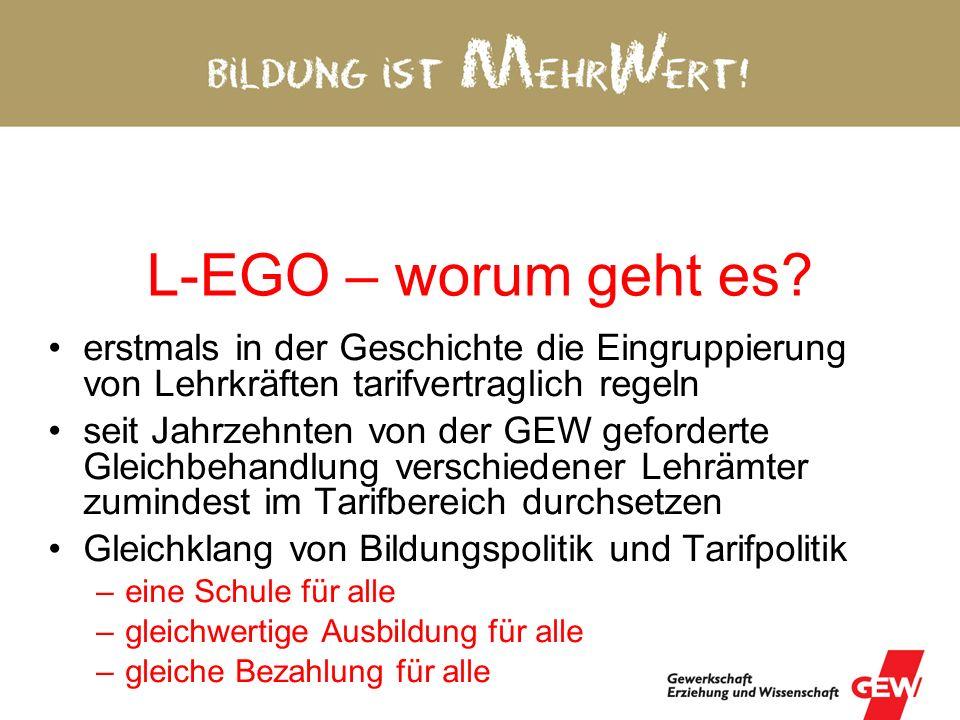L-EGO – worum geht es erstmals in der Geschichte die Eingruppierung von Lehrkräften tarifvertraglich regeln.