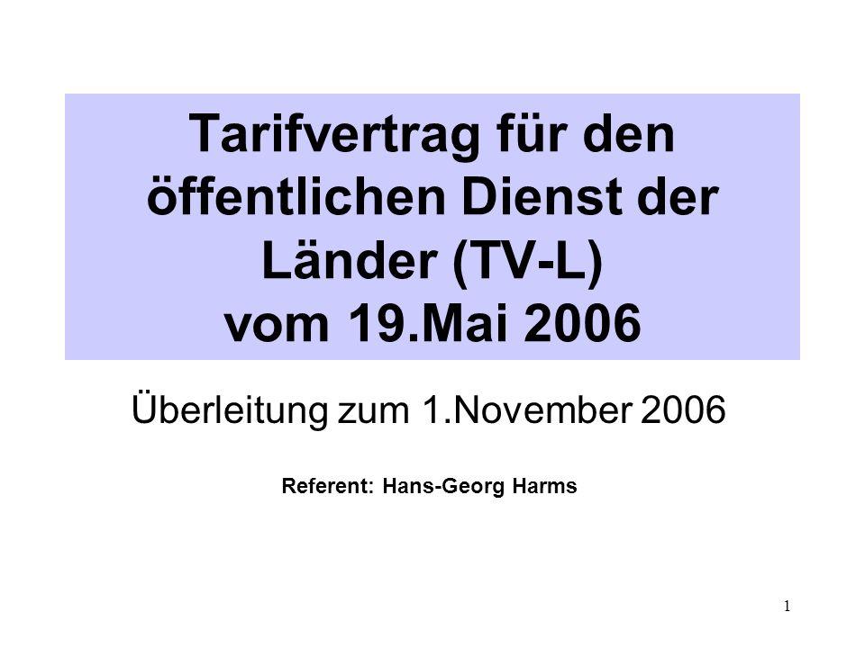 Überleitung zum 1.November 2006 Referent: Hans-Georg Harms