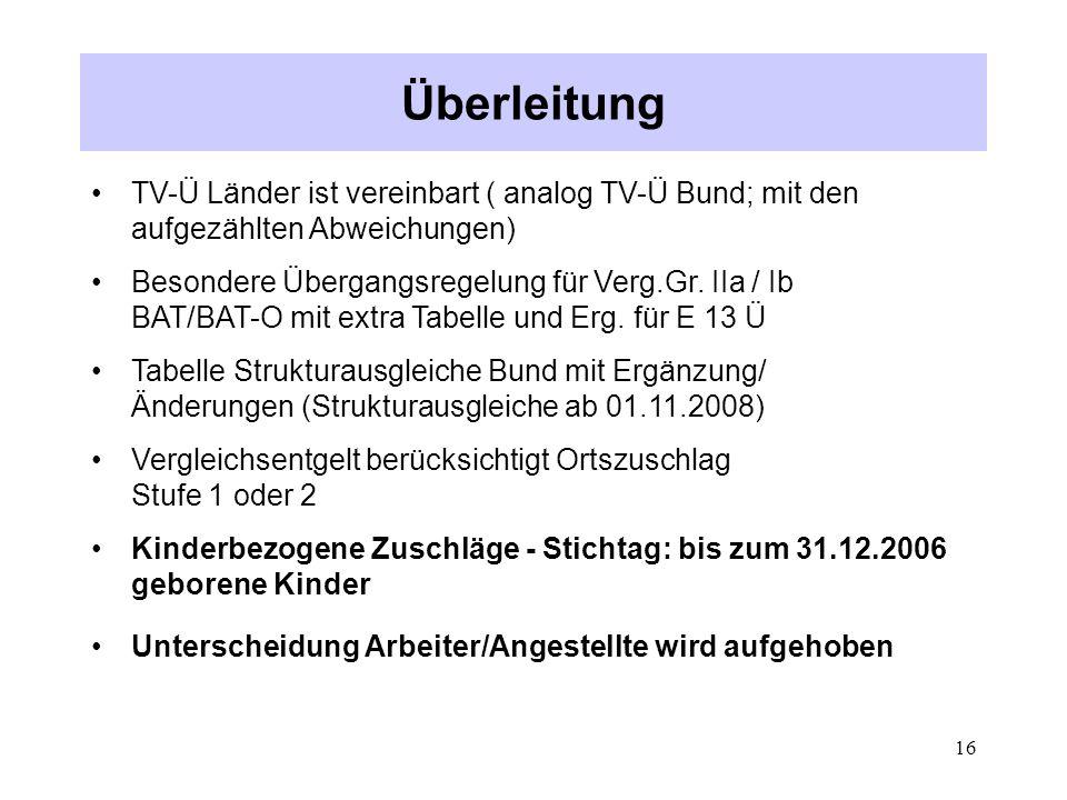 Überleitung TV-Ü Länder ist vereinbart ( analog TV-Ü Bund; mit den aufgezählten Abweichungen)