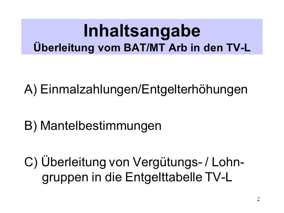 Inhaltsangabe Überleitung vom BAT/MT Arb in den TV-L