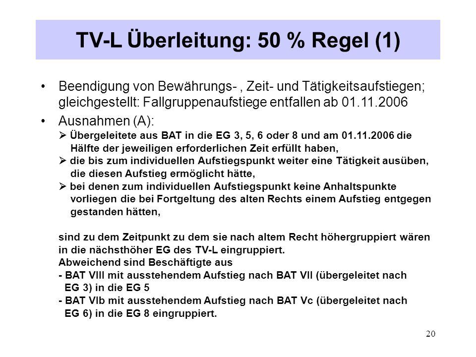 TV-L Überleitung: 50 % Regel (1)