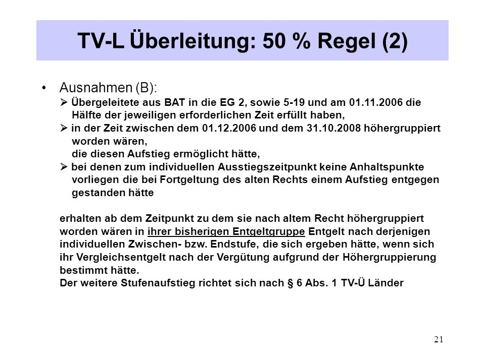 TV-L Überleitung: 50 % Regel (2)