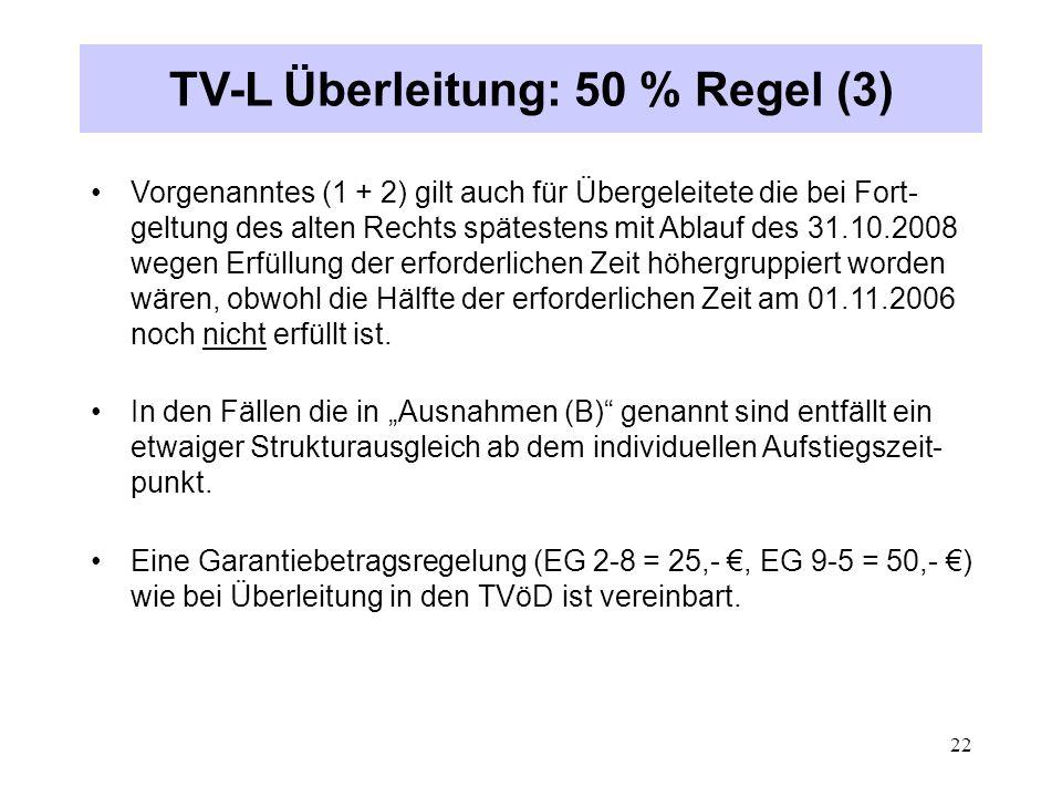 TV-L Überleitung: 50 % Regel (3)