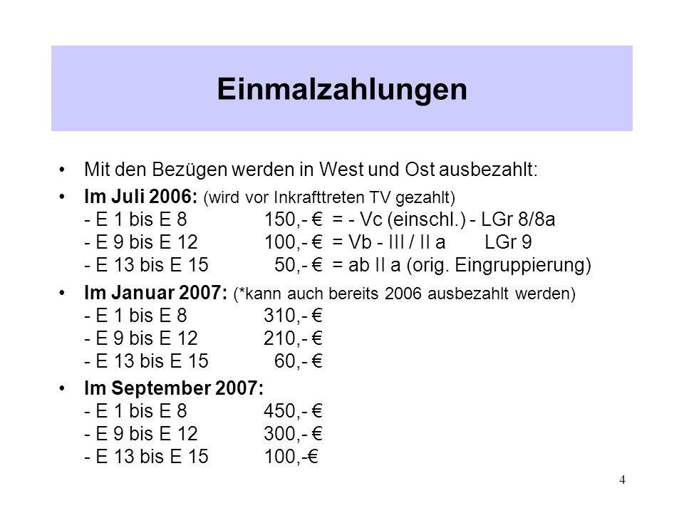 Einmalzahlungen Mit den Bezügen werden in West und Ost ausbezahlt: