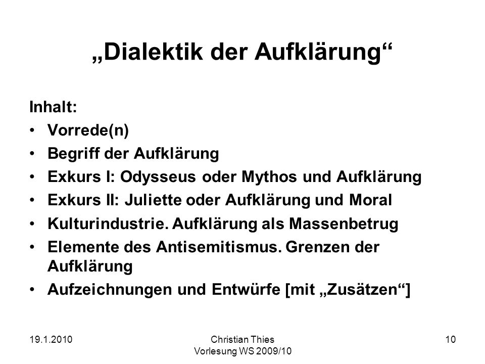 """Dialektik der Aufklärung"