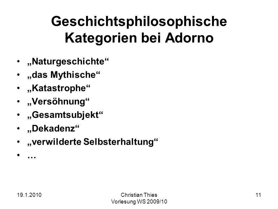 Geschichtsphilosophische Kategorien bei Adorno