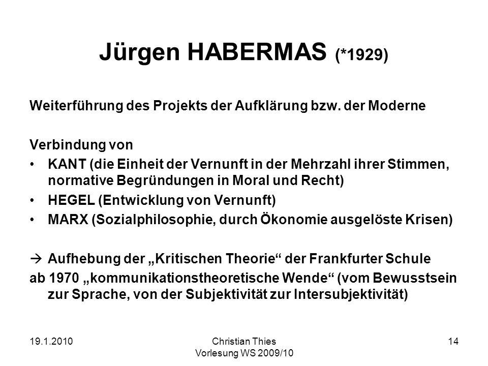 Jürgen HABERMAS (*1929) Weiterführung des Projekts der Aufklärung bzw. der Moderne. Verbindung von.