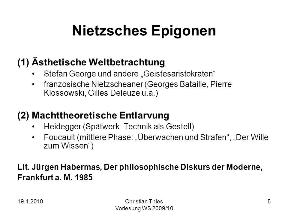 Nietzsches Epigonen Ästhetische Weltbetrachtung