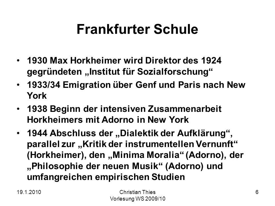 """Frankfurter Schule 1930 Max Horkheimer wird Direktor des 1924 gegründeten """"Institut für Sozialforschung"""