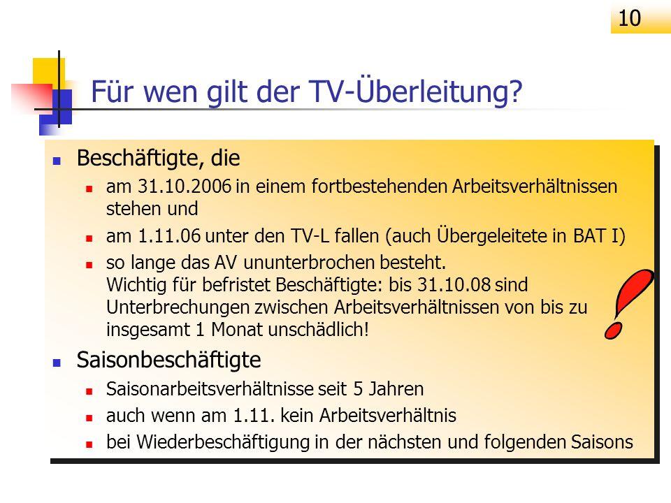 Für wen gilt der TV-Überleitung