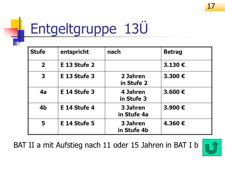 Entgeltgruppe 13Ü Stufe. entspricht. nach. Betrag. 2. E 13 Stufe 2. 3.130 € 3. E 13 Stufe 3.