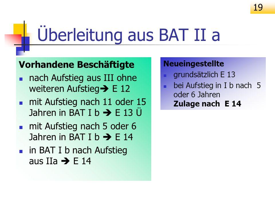 Überleitung aus BAT II a