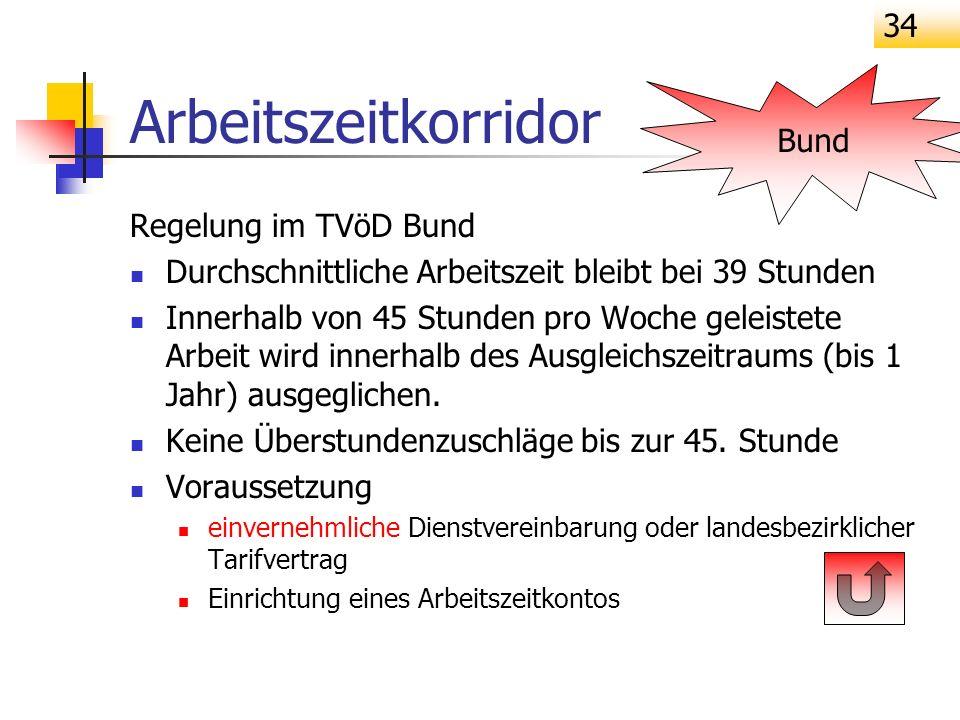 Arbeitszeitkorridor Bund Regelung im TVöD Bund