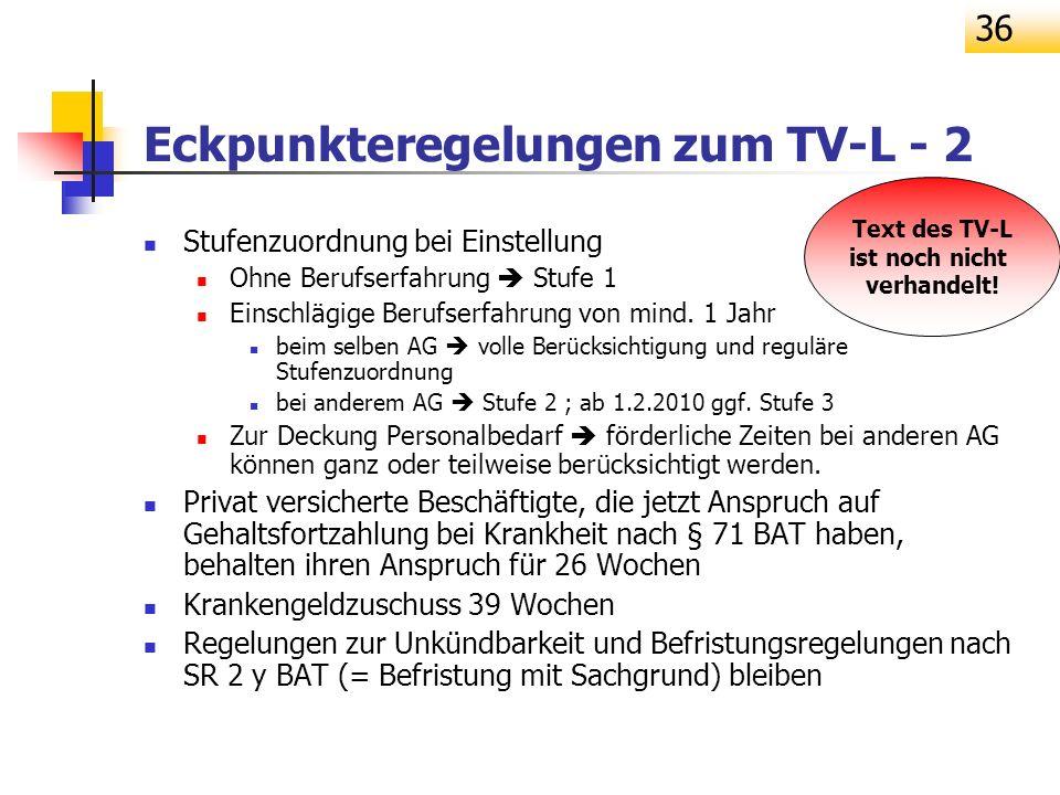 Eckpunkteregelungen zum TV-L - 2