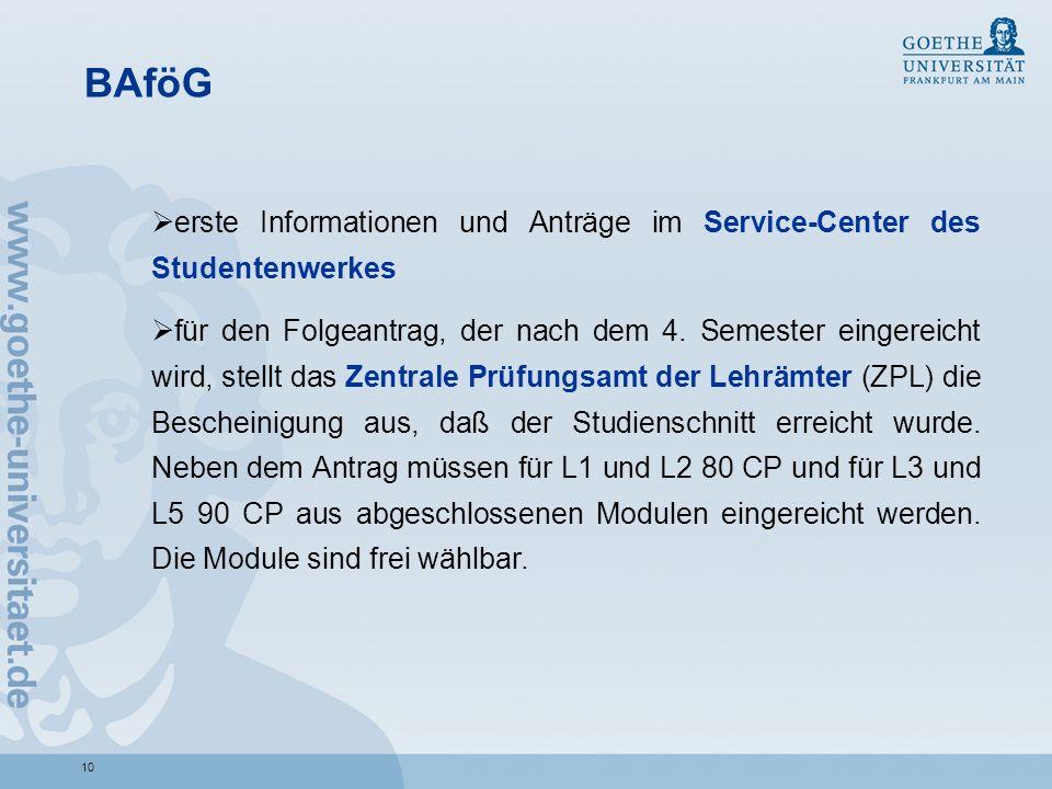 BAföGerste Informationen und Anträge im Service-Center des Studentenwerkes.
