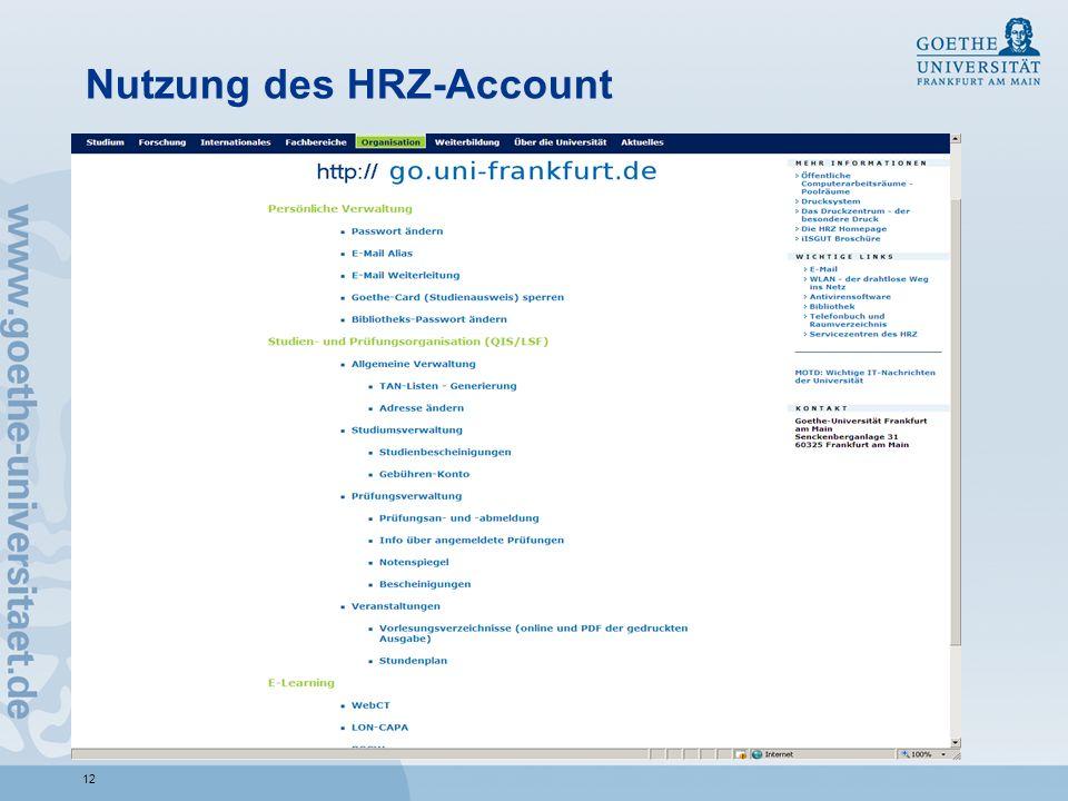 Nutzung des HRZ-Account