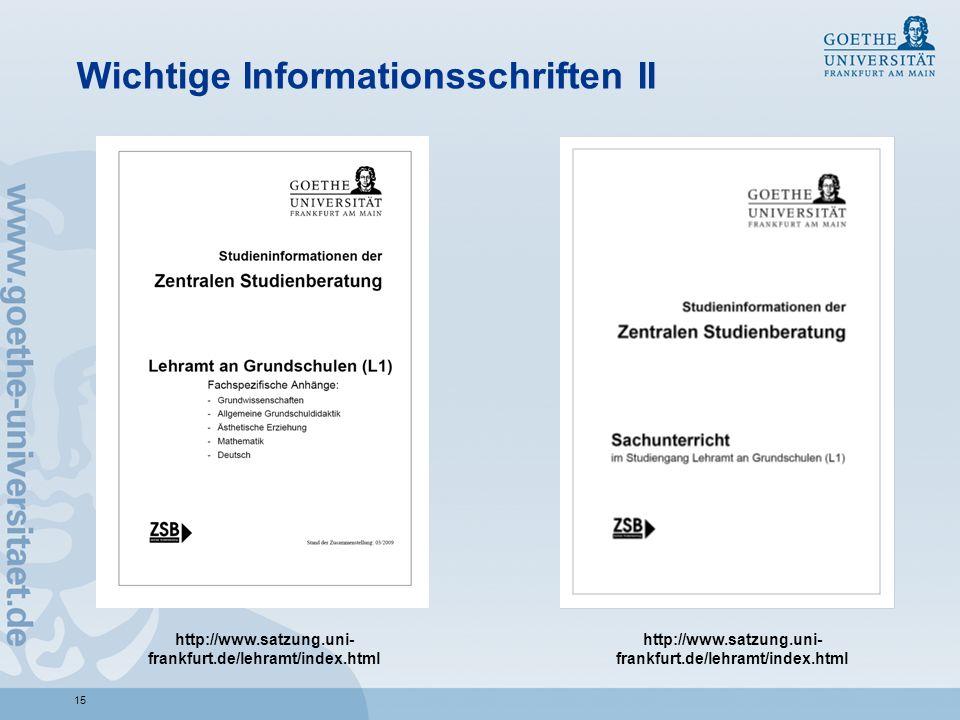 Wichtige Informationsschriften II