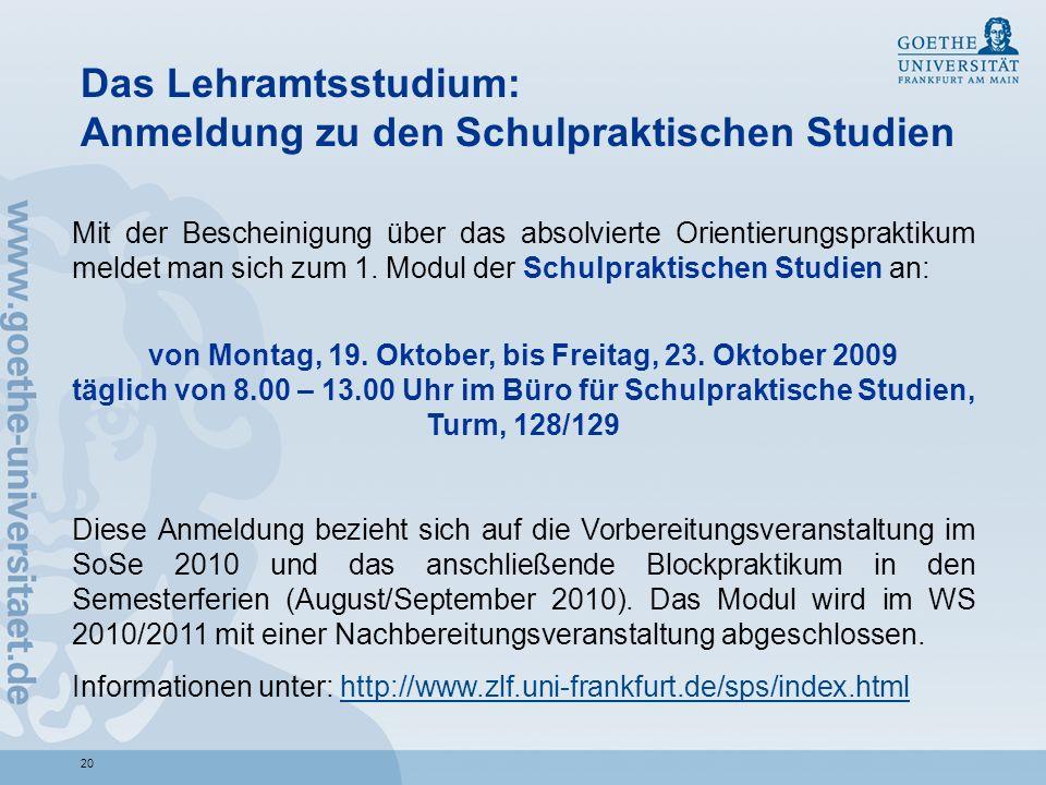 Das Lehramtsstudium: Anmeldung zu den Schulpraktischen Studien
