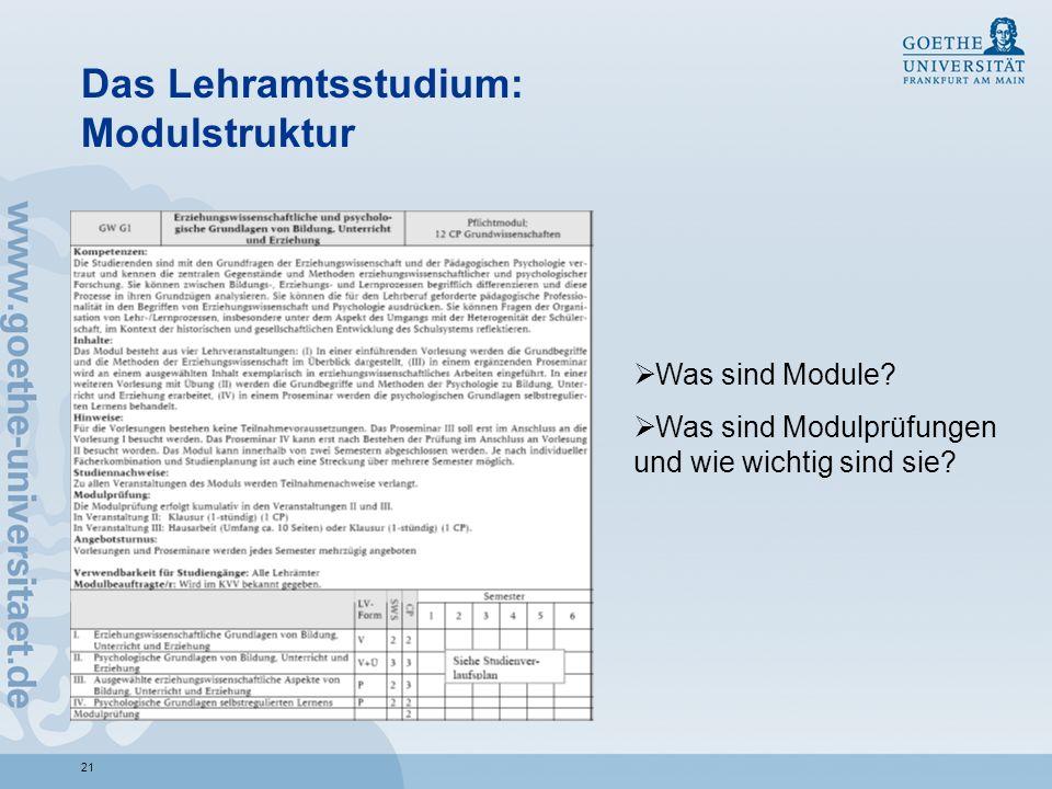 Das Lehramtsstudium: Modulstruktur