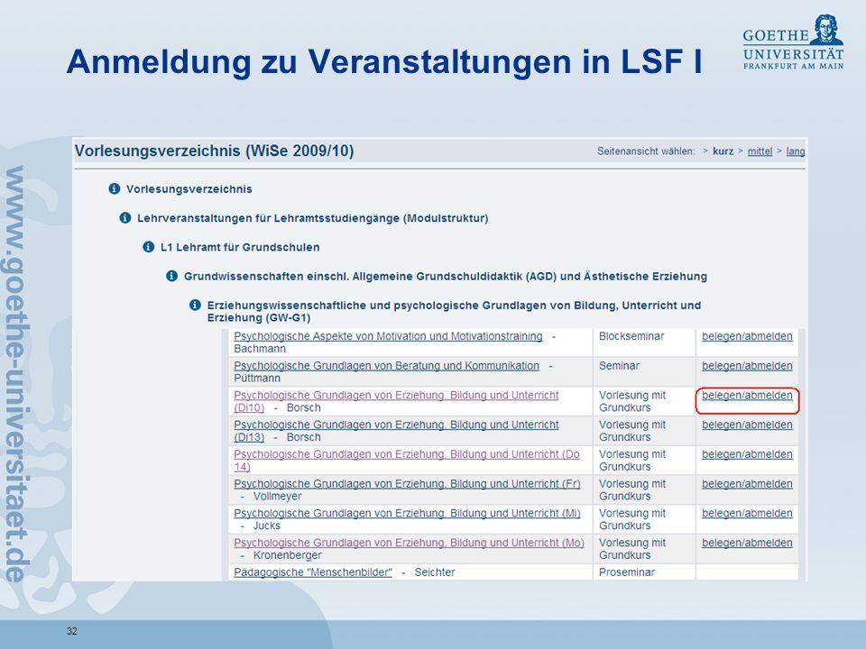Anmeldung zu Veranstaltungen in LSF I