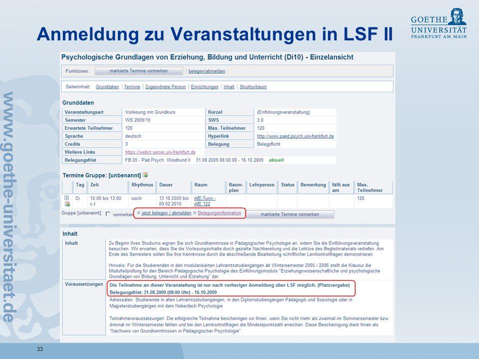 Anmeldung zu Veranstaltungen in LSF II