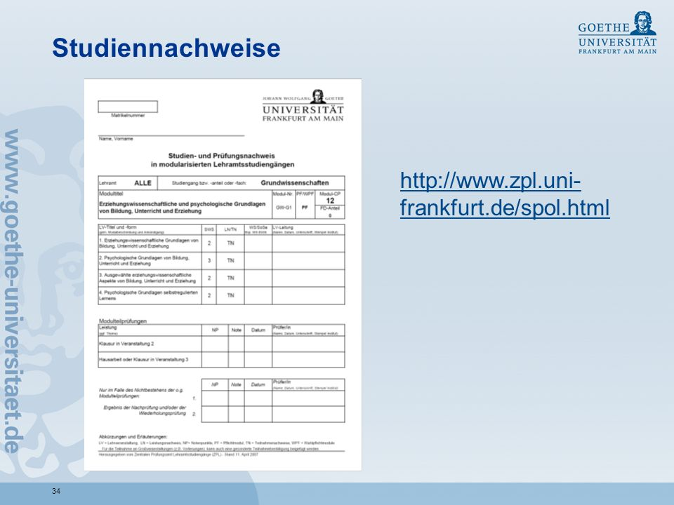 Studiennachweise http://www.zpl.uni-frankfurt.de/spol.html