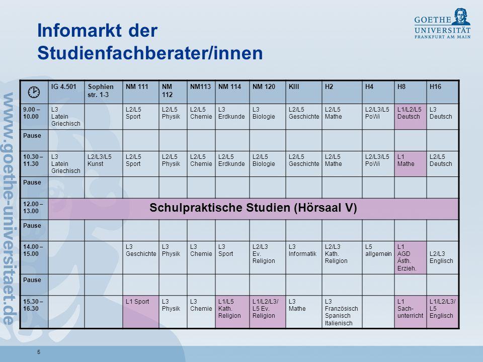Infomarkt der Studienfachberater/innen