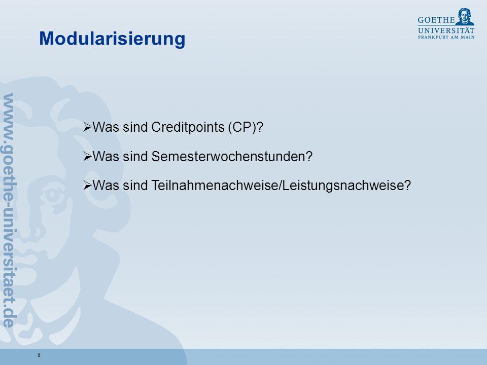 Modularisierung Was sind Creditpoints (CP)
