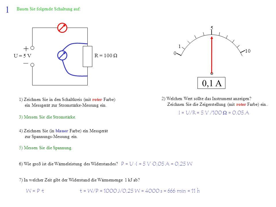 1 + – 0,1 A 5 1 10 U = 5 V R = 100 Ω I = U/R = 5 V /100 Ω = 0,05 A