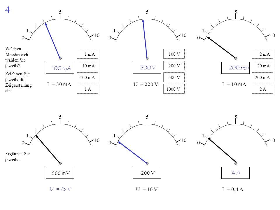 4 1. 5. 10. 1. 5. 10. 1. 5. 10. Welchen Messbereich wählen Sie jeweils 1 mA. 100 V. 2 mA.