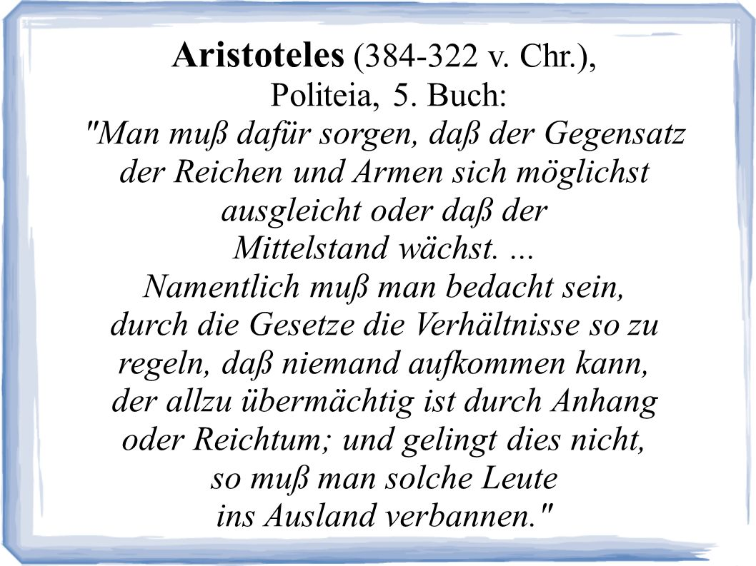 Aristoteles (384-322 v. Chr.), Politeia, 5. Buch: