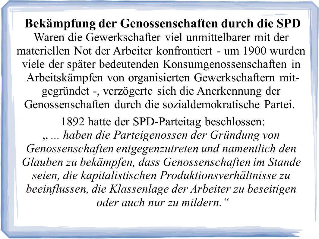 Bekämpfung der Genossenschaften durch die SPD